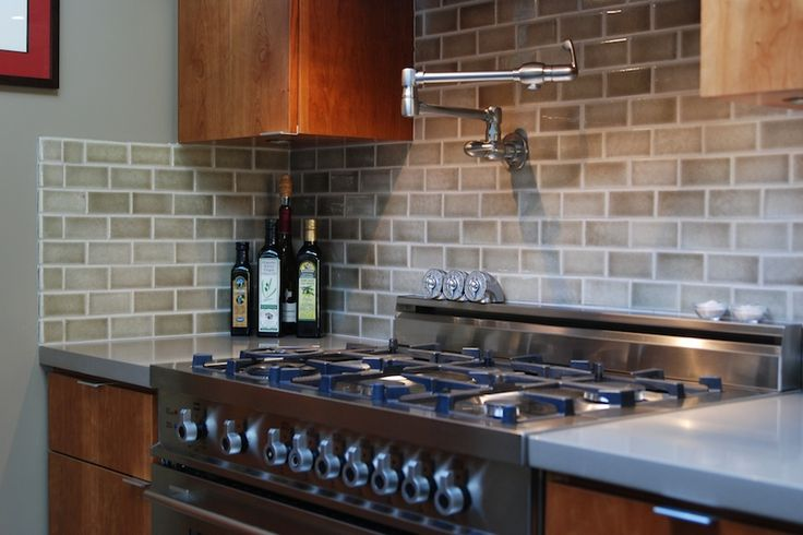 Kitchen  Large Kitchen Stove With Brown Kitchen Backsplash Tile Plus Wooden Cabinets These Backsplash Styles will Change your Kitchens