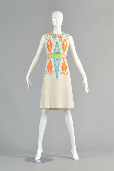 60s Marc Bohan for Dior New York Embroidered Cutwork Shift Dress