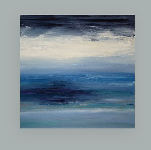Art Painting Acrylic Abstract Beach Seascape on by OraBirenbaumArt
