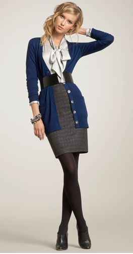 Gorgeous fall work outfit. Pencil skirt, white blouse, long blue cardigan, black belt, tights, black heels