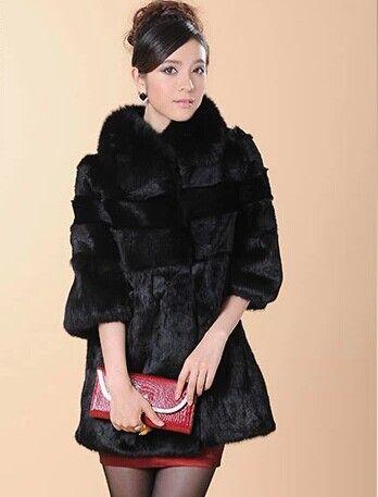 Лисий мех воротник пальто женщины средний - длинная куртка мыс женское настоящее естественная мех кролика рекс верхней одежды