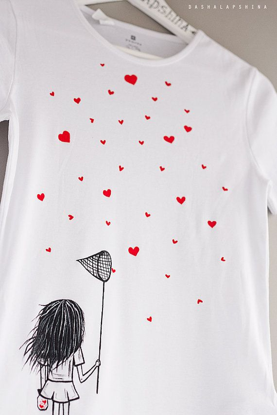 Hand painted Women T-shirt with a girl with scoop-net and hearts, gift for her…