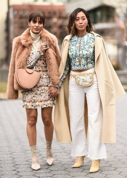 e72bd8f869b Camila Coelho and Aimee Song are seen outside the Zimmermann show during  New York Fashion Week Women s A W 2018 on February 12 2018 in New York City