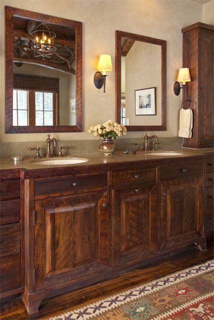 304 best images about cabin interiors on pinterest for Rustic master bathroom ideas