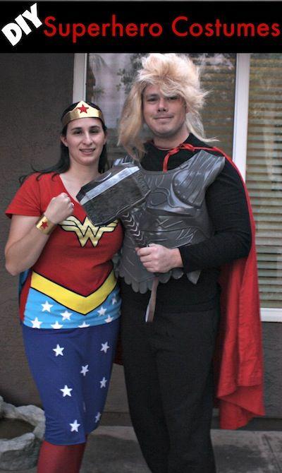 DIY Super Hero Costumes Wonder Woman and Thor  sc 1 st  Pinterest & The 72 best Super Hero Halloween images on Pinterest | Disney ...