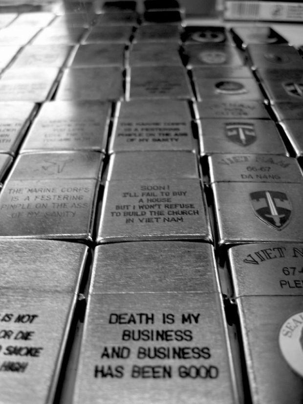 Vietnam War engraved Zippo lighters.