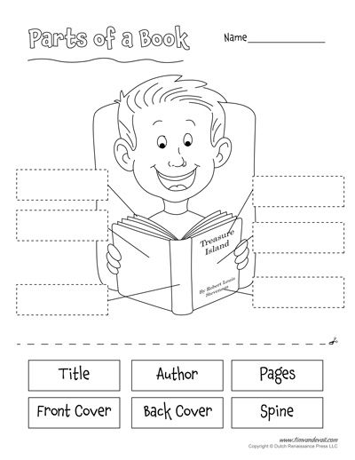 parts of a book worksheet for kids