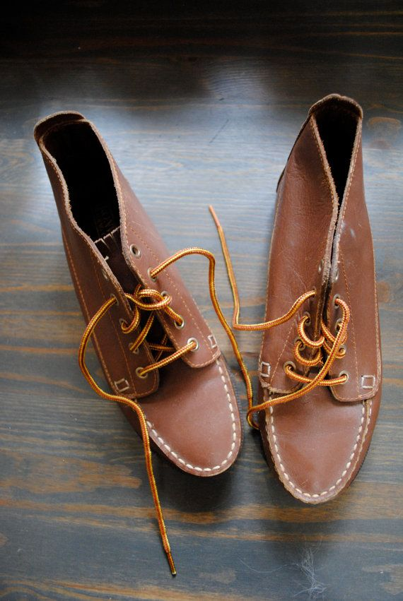 80s/90s Tan Brown Moccasin Ankle Boots/ Fringe Detail/ Lace Up/ Grunge Southwetern/ Size 8.5