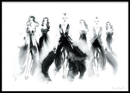 Print med modemotiv, kvinnor från catwalken