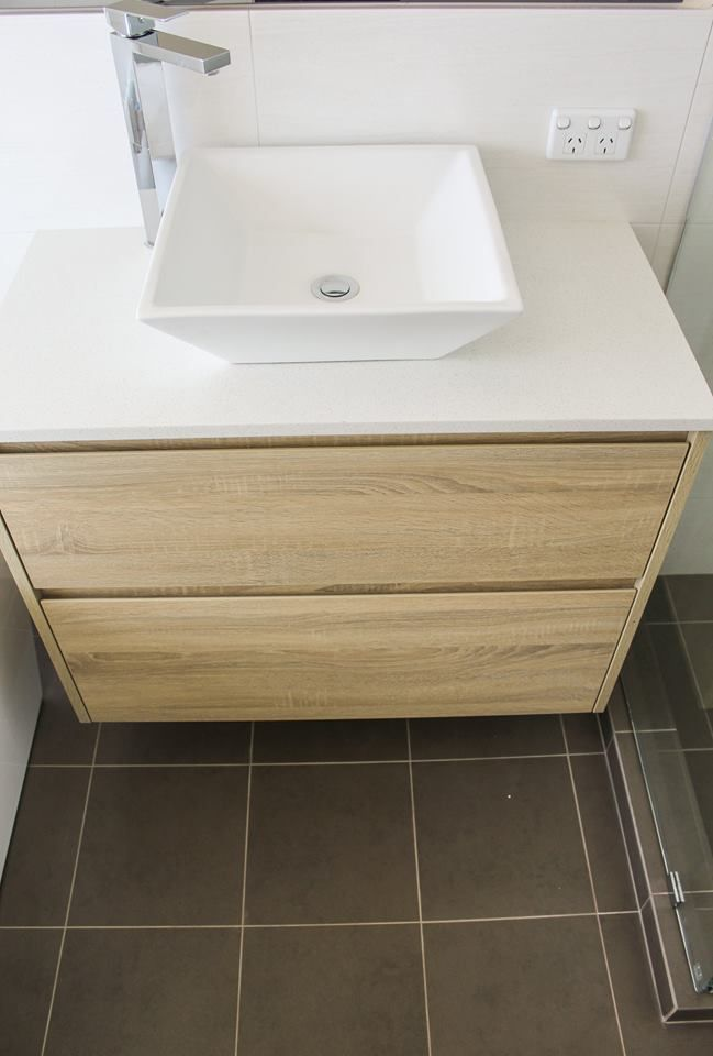 Oak Laminate Vanity - Wall Hung 900mm  Bathroom Renovation Scarborough