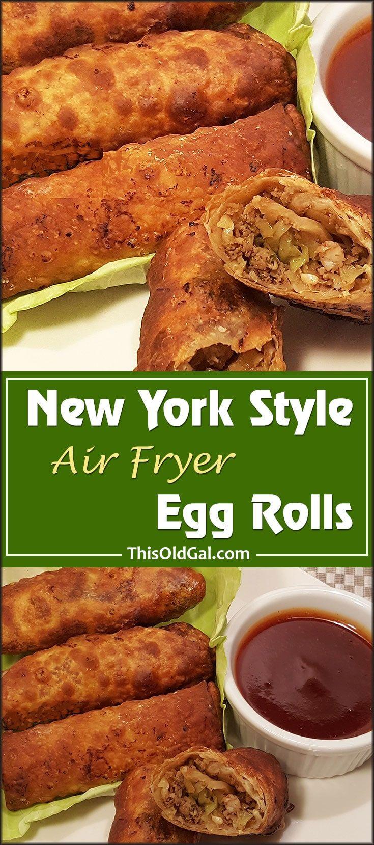 Air Fryer New YorkStyle Egg Rolls {Shrimp & Pork} via @thisoldgalcooks