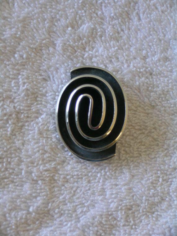 Modern Swirl Sterling Silver Brooch Pin or Pendant by Maricela