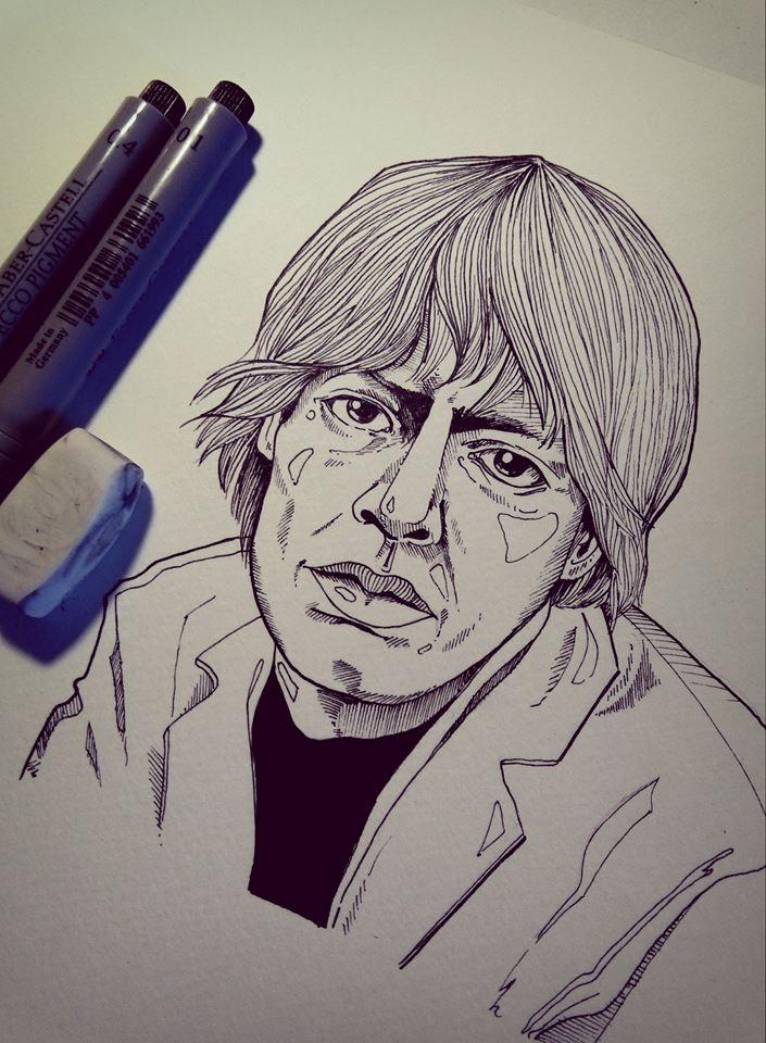 Mick Jagger, pen drawing