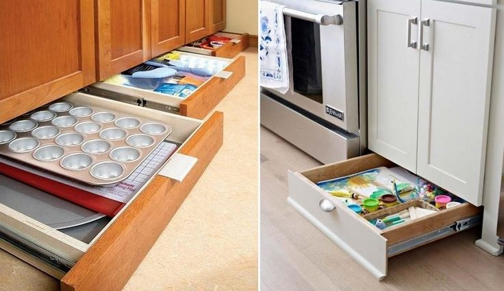 base board drawers - I love the idea but you need very level floors to pull this off
