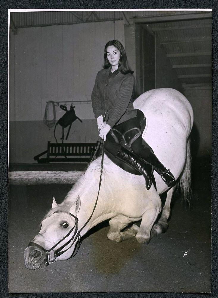 Vintage 62 Chinese Actress NANCY KWAN Riding Horse On Set