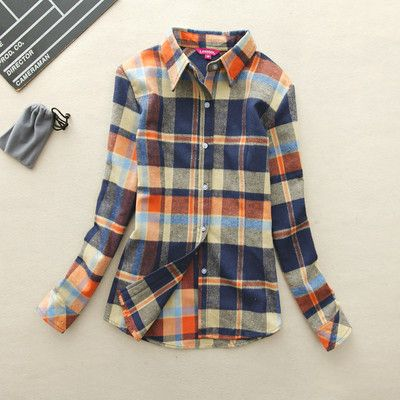 2016 Hot Sale Women Shirts tops new 100% Cotton Plaid Shirt Fashion Female Student Women's Long-sleeve Plus Size Basic Blouses