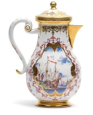 A coffee jug with cover, porcelain, pear-shaped body with wide gilt rims, wide gilt lace border, gilt spout and handle with gilt décor, to each side reserves with polychrome-painted merchant scenes and merchants, encompassed by copper lustre, purple and iron-red-painted leaf and strapwork, set between which colourfully painted indianische floral stems, H 18 cm, restoration to handle terminals, Meissen, underglaze blue sword mark circa 1735, gilt painter R. Wien, Dorotheum, 22.04.15, no. 926.