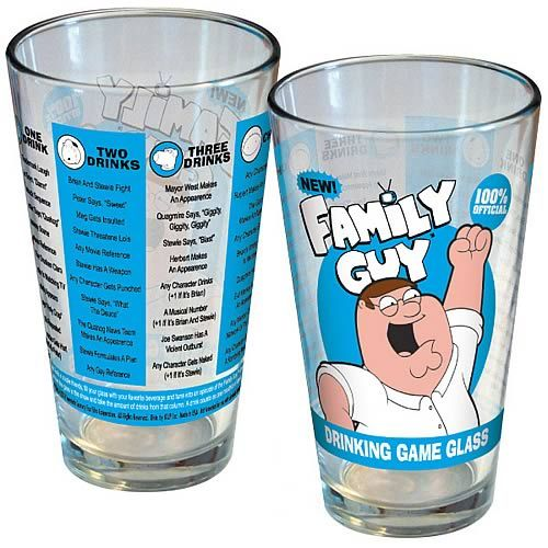 Family Guy Drinking Game Blue and Yellow Pint Glass $8.99