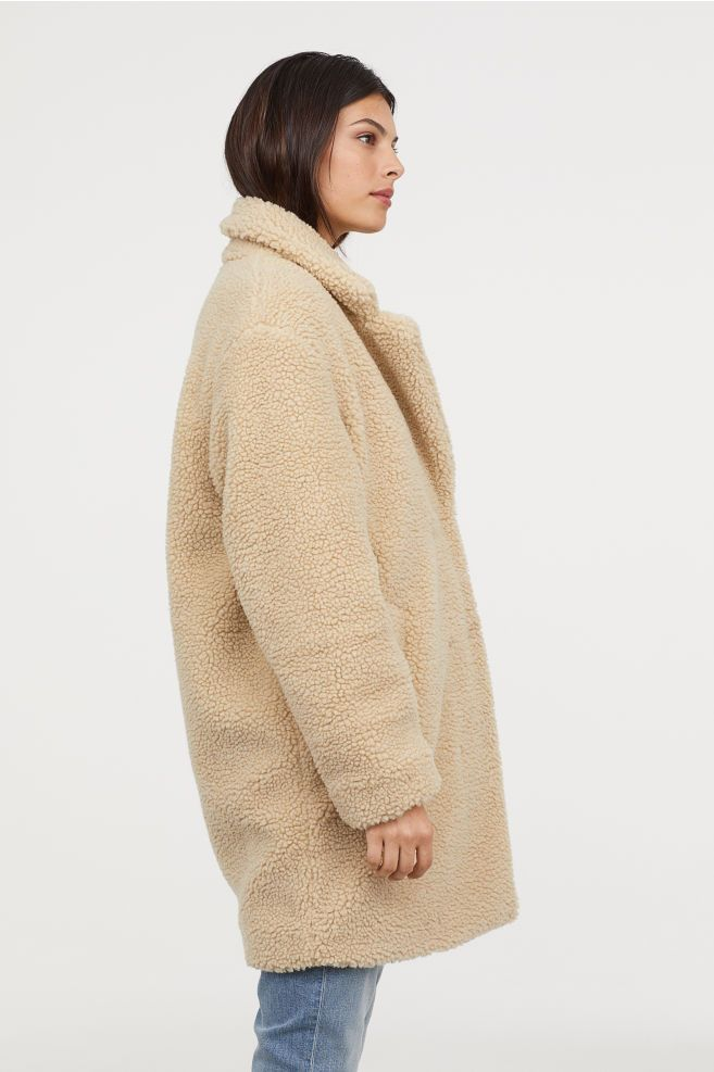 Short pile coat Beige Ladies | H&M IE | Coat, Clothes