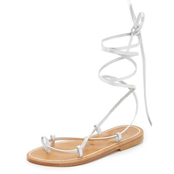 K. Jacques Bikini Wrap Gladiator Sandals ($270) ❤ liked on Polyvore featuring shoes, sandals, lame argent, leather shoes, gladiator sandals shoes, roman sandals, leather sole sandals and tie shoes