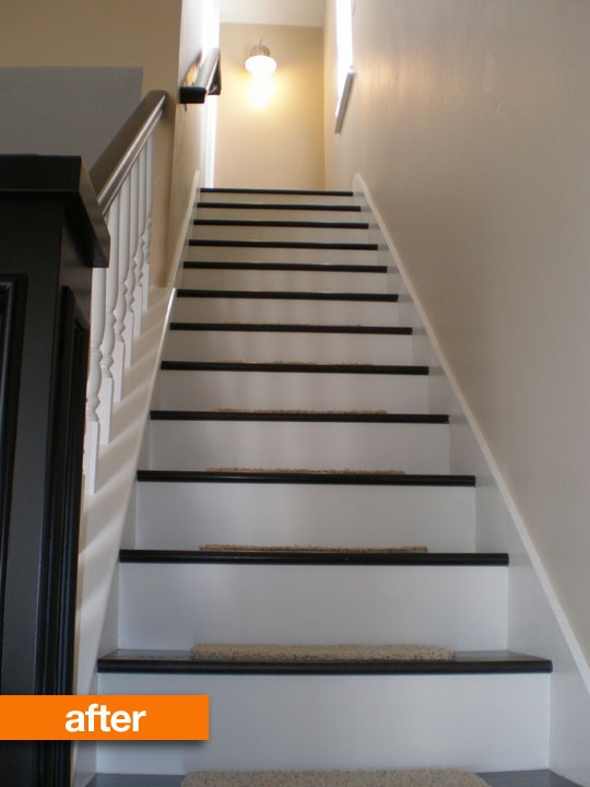Before & After: Kellys Inexpensive Staircase Remodel.  Doing this to the basement stairs.
