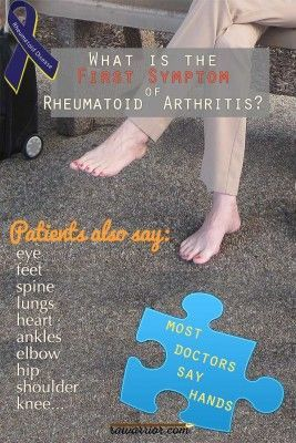 """""""The first symptom of rheumatoid arthritis is expected to be in the hands; but people living with the disease describe many other first symptoms."""""""