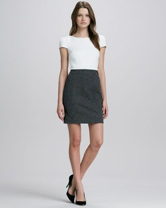 Two-Tone Tweed Combo Dress by 4.collective at Neiman Marcus.