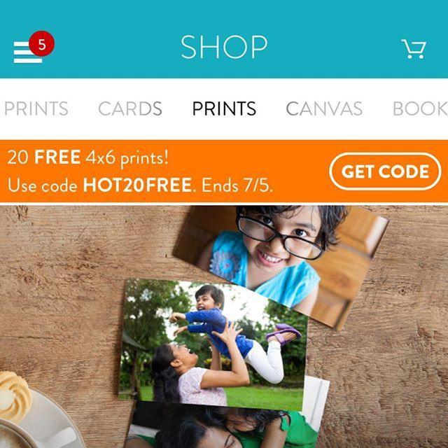 20 Count 4 X6 Photo Prints Free Free Shipping Snapfish Easy Order In App Coupon Code Hot20free Make Sure The Total Quantity With Images Prints 4x6 Prints Free Prints