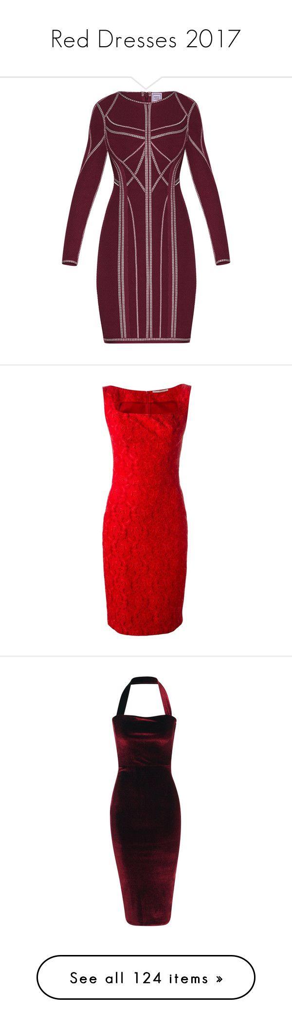 """Red Dresses 2017"" by leptismagna ❤ liked on Polyvore featuring reddress, dresses, cocktail dresses, herve leger dress, purple bandage dress, metallic cocktail dress, bodycon bandage dress, red, red lace dress and lace cocktail dress"