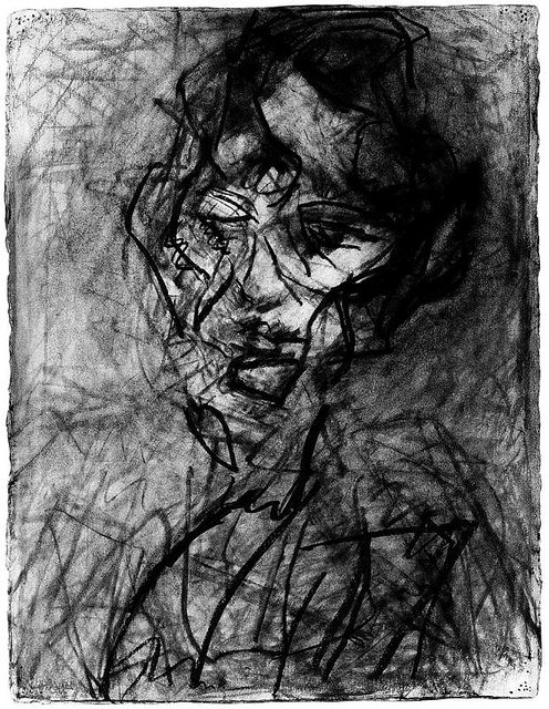 Frank Auerbach. I really like this drawing because its showing the intensity of how the artist has smudged, compressed, softened and scratched with the charcoal to re creative depth portrait.
