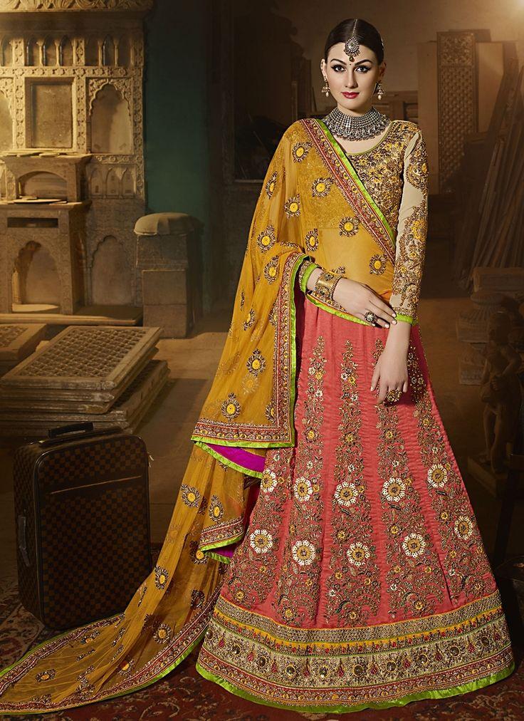 Buy Floral Art Silk A Line Lehenga Choli #weddinglehenga #bridallehenga #weddingfashion #occaison #fashion #marriageseason #weddingplanner #fashionable #glamor #glamorous #traditional #traditionalfashion