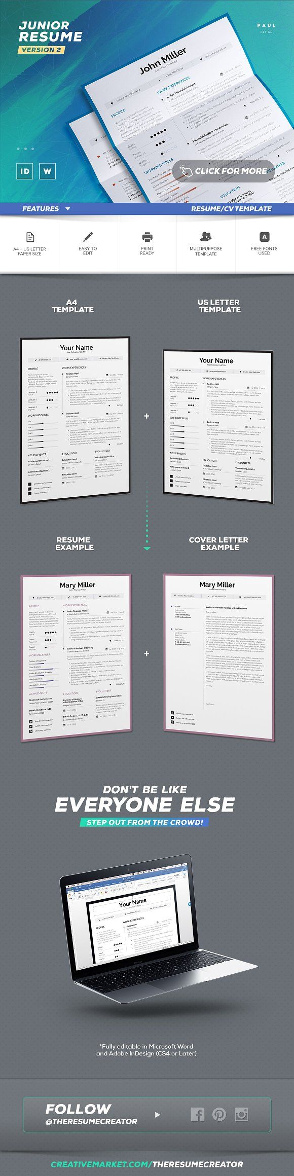 Word Cv Templates 2007%0A Junior Resume Cv Template  v   Graphicsauthor