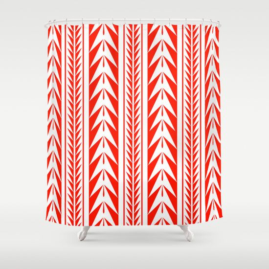 moroccan stripes red shower curtain