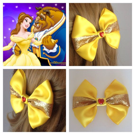 Handmade Hair Bow. Disney's Beauty and the by HairBowObsessions