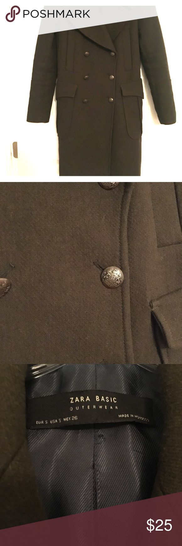 ZARA Brand Olive Green Wool Coat This cozy olive green wool winter gem is a lovely addition to your closet. The lining is navy blue with a large collar and detailed military style buttons. Zara Jackets & Coats Pea Coats