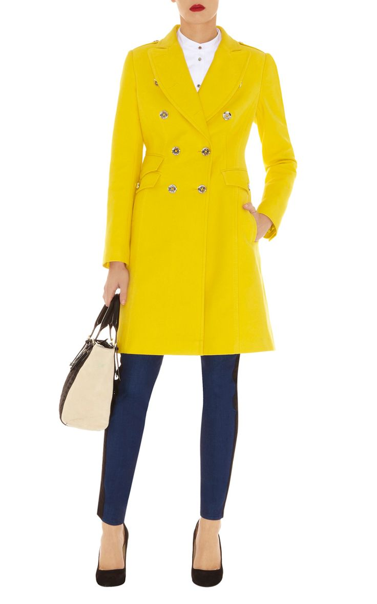 Karen Millen Military Moleskin Coat in Yellow