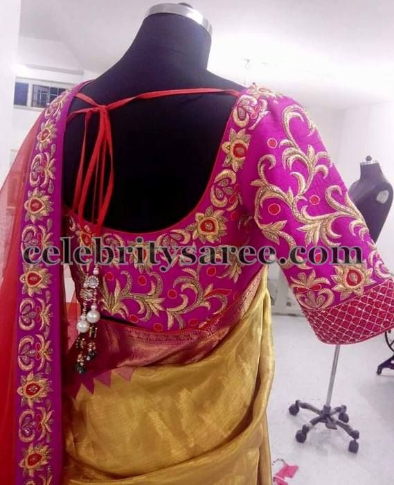 Pink Zardosi Floral Blouse | Saree Blouse Patterns