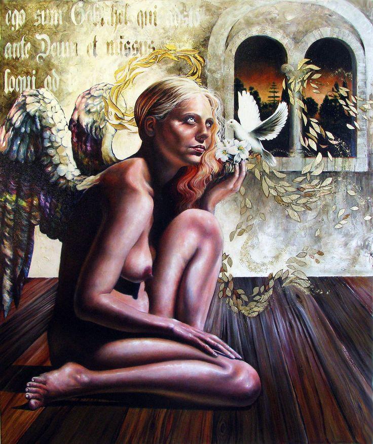 Gabriel, ángel de la maternidad, año 2015, óleo y pan de oro sobre lienzo, 120 x 100 cm.