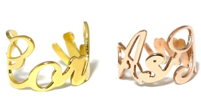 Anelli personalizzati con nome in acciaio anallergico bianco, giallo o rosa