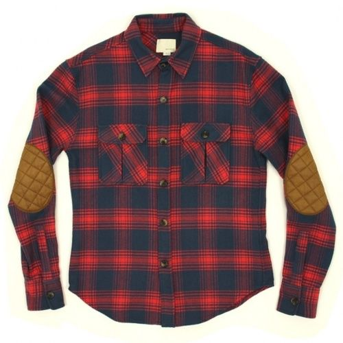Band of outsiders heavy flannel shirt jacket for Mens flannel shirt with elbow patches