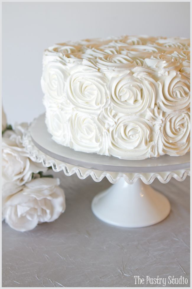 Ivory Buttercream Rosette Cake by The Pastry Studio:Daytona Beach,Fl