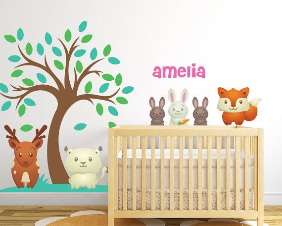 Forest Animal Nursery Wall Decals with Custom by LullaberryDecals