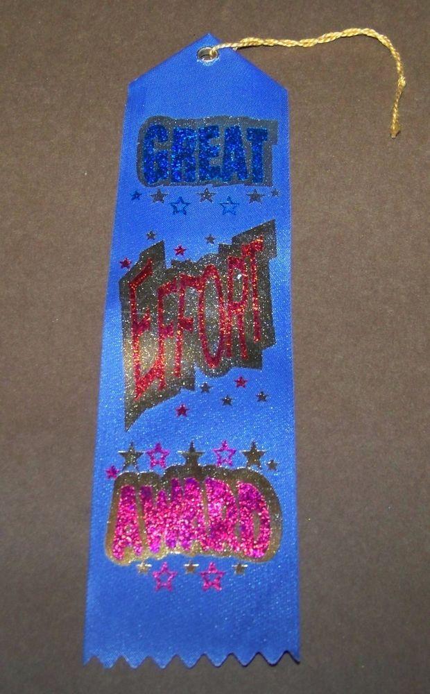 "Great Effort Award Ribbon Metallic 8"" Blue Gold Stars #TheDiplomaMill"