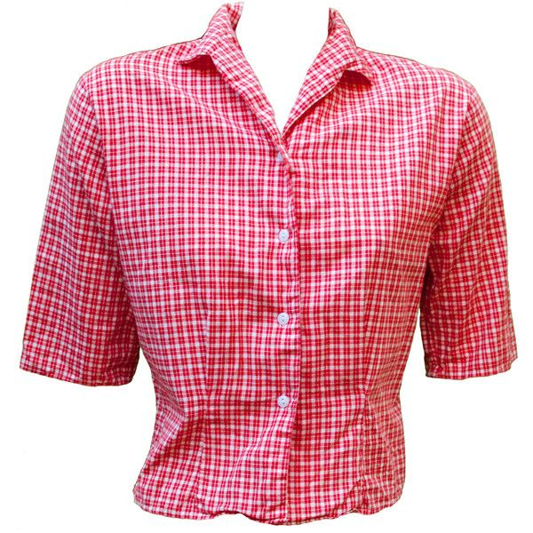 1950s XL Blouse Shirt Blouse Plus Size Gingham Checked Red White... ($76) ❤ liked on Polyvore featuring tops, blouses, red gingham shirt, red blouse, three quarter sleeve shirts, plus size blouses and button front shirt