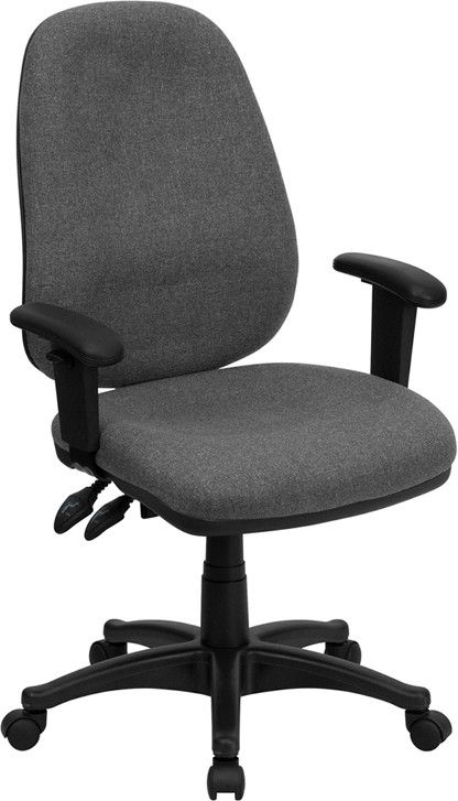 High Back Gray Fabric Ergonomic Computer Chair with Height Adjustable Arms BT-661-GR-GG by Flash Furniture