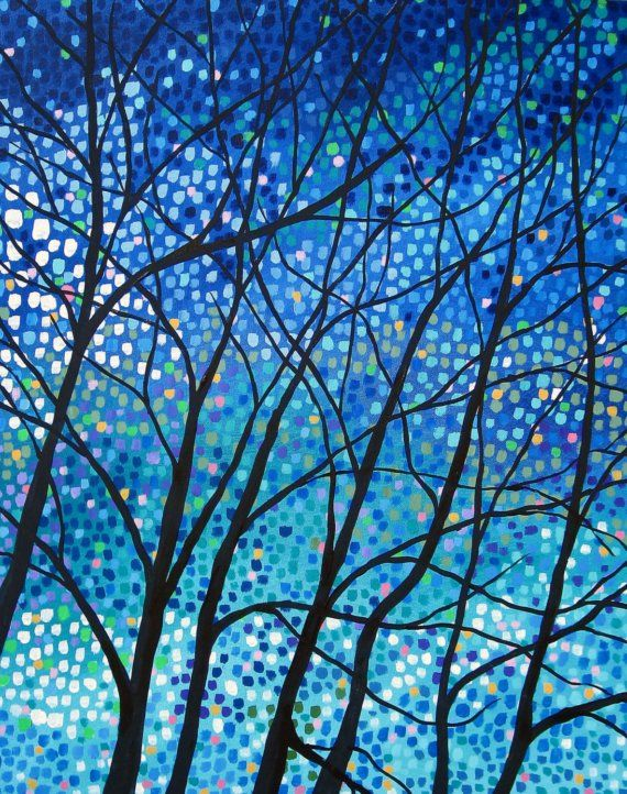 Winter's Night Lights 24x30  Acrylic on canvas by by TRMACKSTUDIO,
