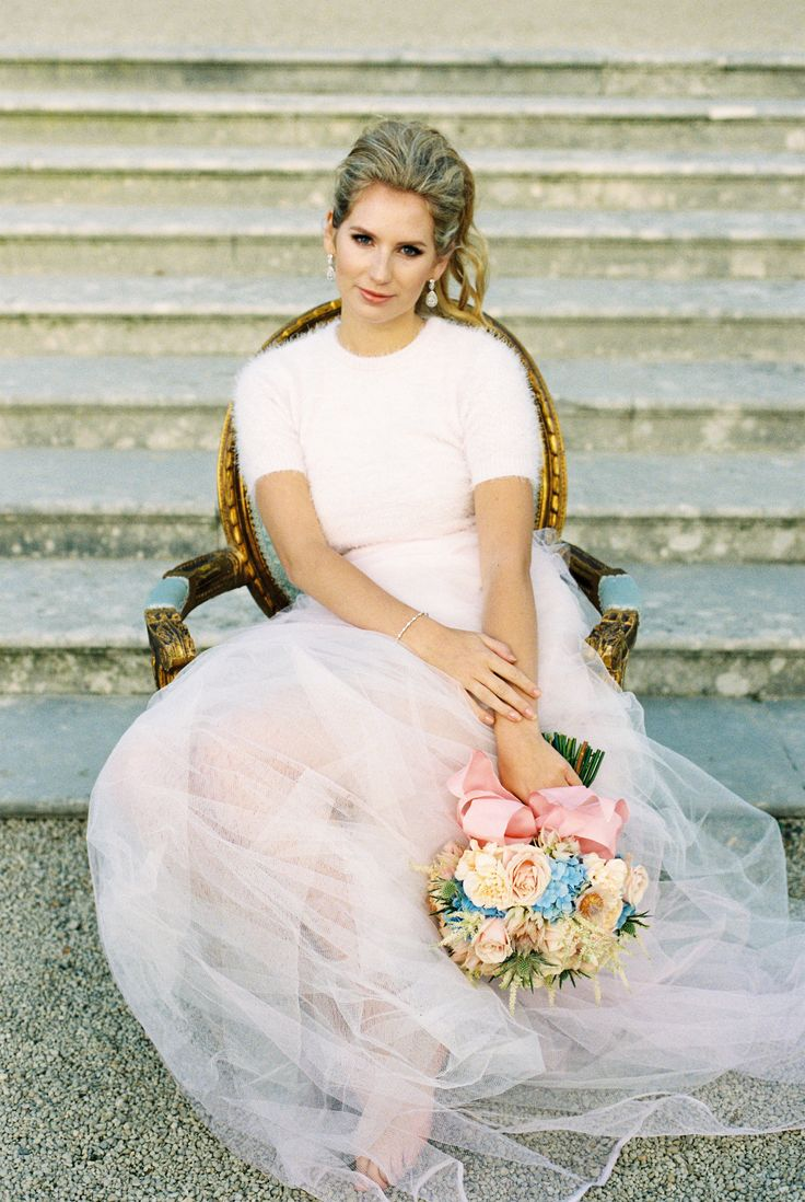 Olivia Palermo inspired #wedding #dress sweater #tulle combination #pastel #pink #oliviapalermo #fineart #photography #boboutiquedress image by www.bowtieandbellephotography.co.uk