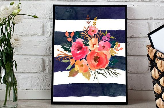 Pink flowers Navy stripes Watercolor Florals by MINTablePrintables