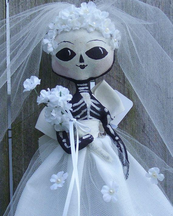 Skeleton Bride Doll Halloween Primitive Folk by PiecakePrimitives