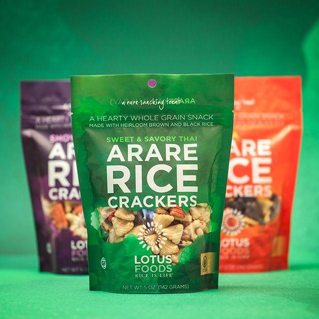 Bulldog Drummond: Lotus Foods Arare Rich Cracker Brand Packaging